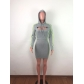 European and American net red suit low-cut vest dress with hooded sweater long sleeve two-piece