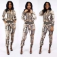 European and American women's fashion slim python snake print set two-piece